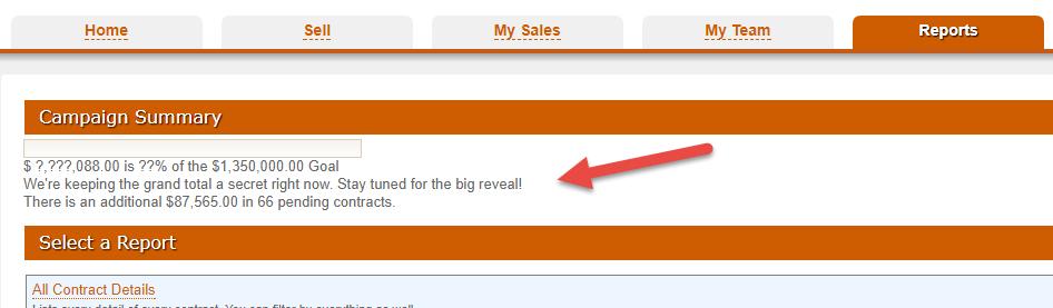 easytrc reports tab with campaign progress totals hidden